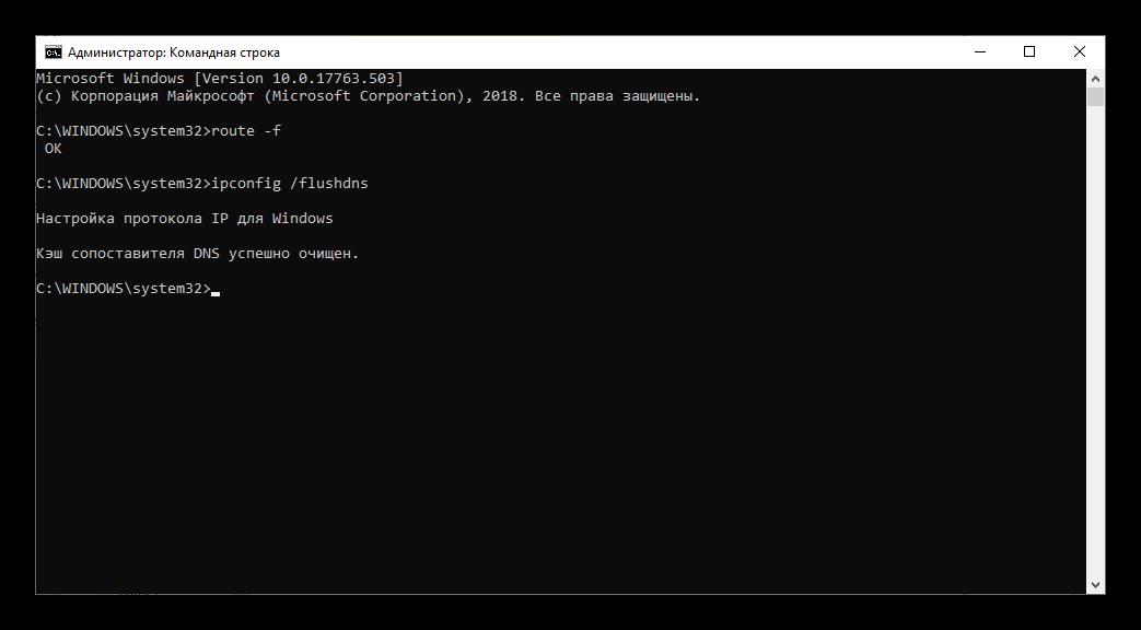Чистка данных DNS с помощью Командной строки