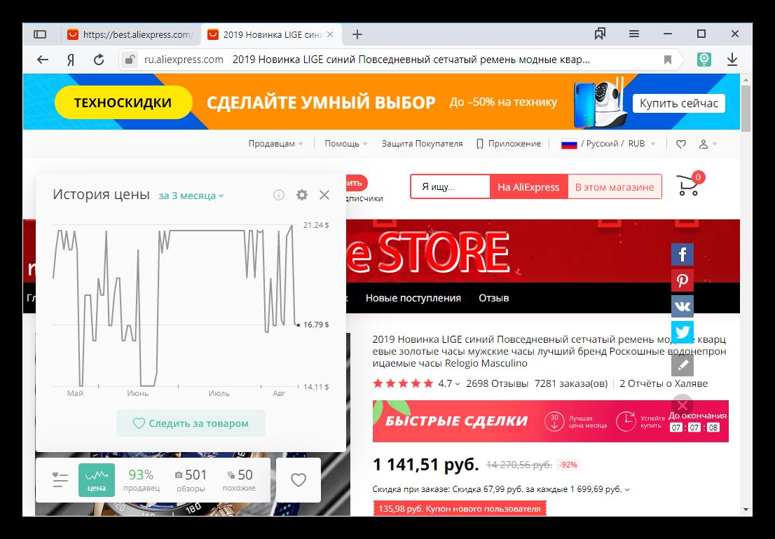 Общий вид Ali Tools для Яндекс.Браузера
