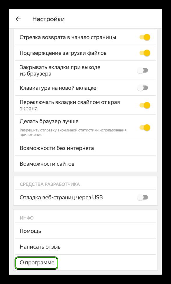 Пункт О программе в настройках мобильной версии Яндекс.Браузера