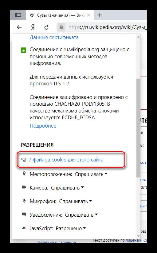 Файлы cookies для определенного сайта в Яндекс Браузере