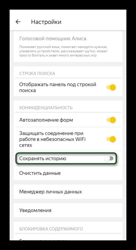 Опция Сохранять историю в мобильной версии Яндекс.Браузера