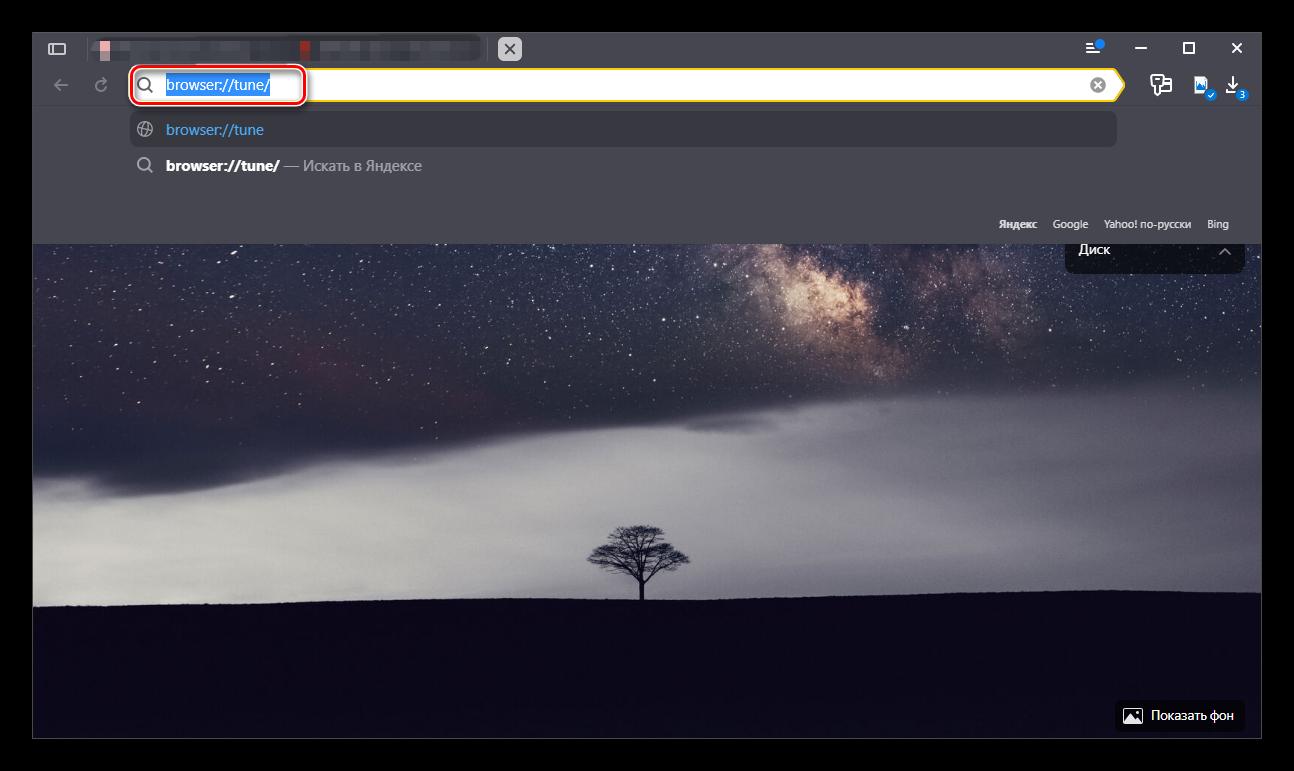Ввод необходимой ссылки в браузер